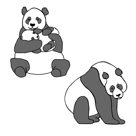 baby hand: Set of two cute pandas and cub. Hand drawn vector illustrations isolated on white. Cute mother panda with little baby and sitting panda