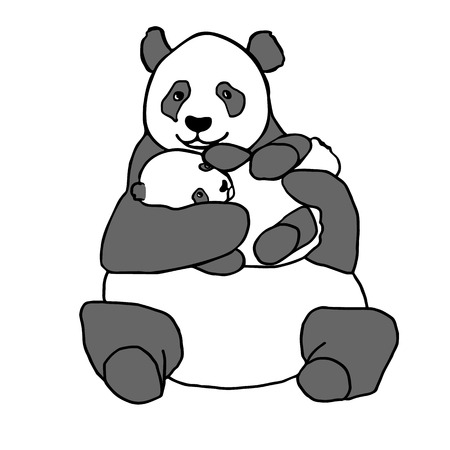 baby hand: Panda holding cub. Hand drawn vector illustration isolated on white. Cute mother panda with little baby Illustration