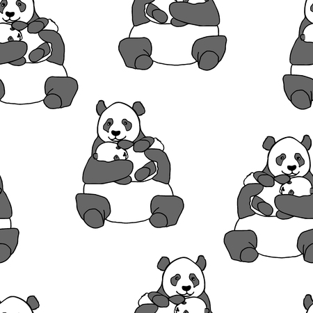 asian art: Seamless pattern with panda holding cub. Hand drawn vector illustration isolated on white. Cute mother panda with little baby Illustration