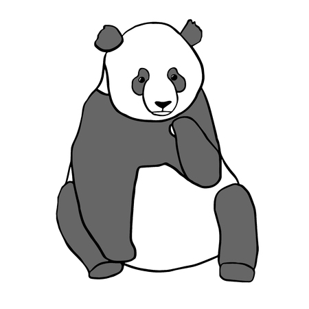 asian art: Cute sitting panda bear. Hand drawn vector illustration isolated on white Illustration