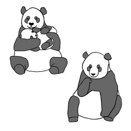 baby smile: Set of two cute pandas and cub. Hand drawn vector illustrations isolated on white. Cute mother panda with little baby and sitting panda