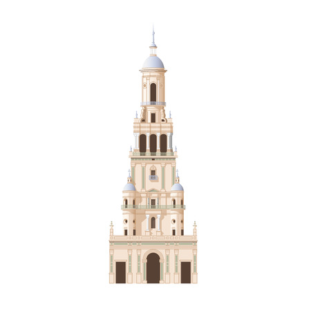 plaza: Facade of classical building. Tower of Plaza de Espana, Sevilla. Detailed vector illustration isolated on white