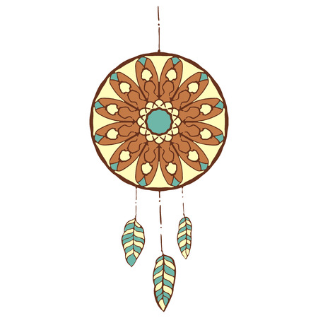 dreamcatcher: Hand drawn vector colorful dreamcatcher. Vector illustrations isolated on white. Boho style design elements. Tribal style design Illustration