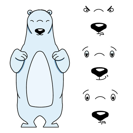 angry teddy: Polar bear with different facial expressions. Colored vector illustration isolated on white. Cute cartoon style animal is smiling and frowning. Content, aloof and angry expression Illustration