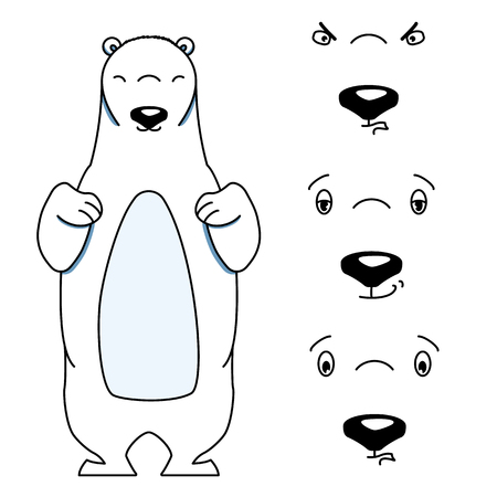 impatient: Polar bear with different facial expressions. Colored vector illustration isolated on white. Cute cartoon style animal is smiling and frowning. Content, aloof and angry expression Illustration