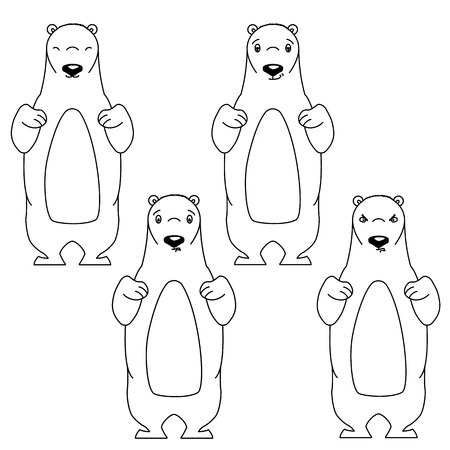 impatient: Polar bear with different facial expressions. Black and white vector illustration isolated on white. Cute cartoon style animal is smiling and frowning. Content, aloof and angry expression