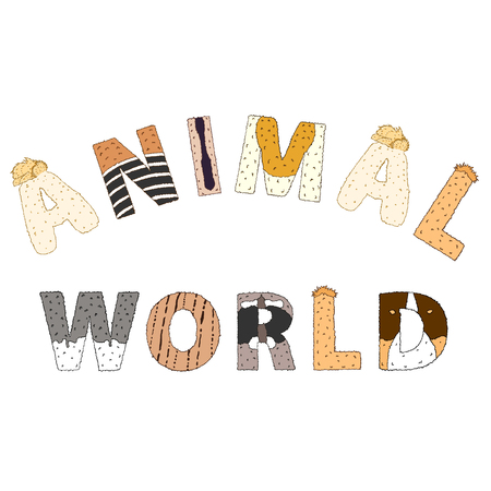 furry: Animal world lettering. Hand drawn illustration isolated on white. Colorfull furry letters with animal pattern. Cute childish illustration Illustration