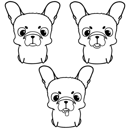 big head: Set of french bulldog puppies. Black and white illustration of cute little dog with big head. Smiling friendly pup with unusual face. Isolated on white