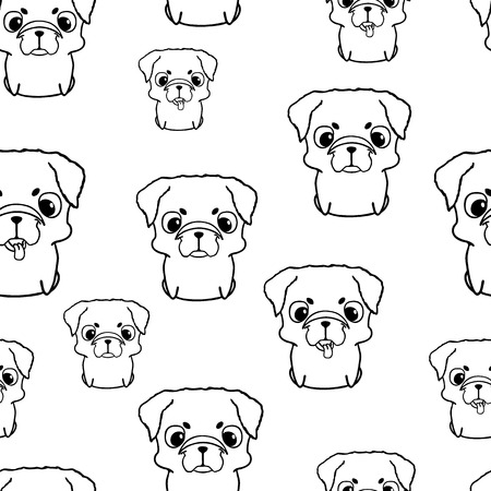 Seamless pattern with pug puppies. Sweet little dogs in cartoon style. Friendly and happy sitting puppies. Black and white pug puppy. Seamless texture with pg puppies Illustration