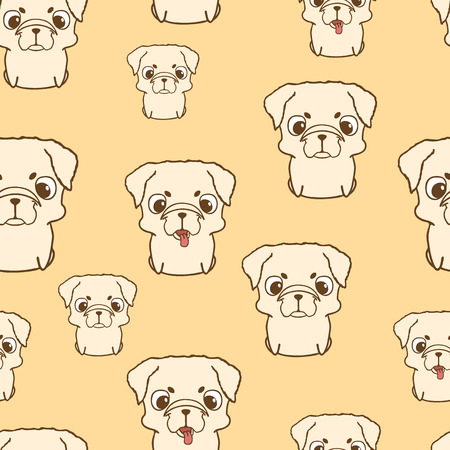 pup: Seamless pattern with pug puppies. Cute little dogs in cartoon style. Seamless wallpaper with sweet puppies for children. Brown pug pup. Hand drawn vector illustration on yellow background Illustration