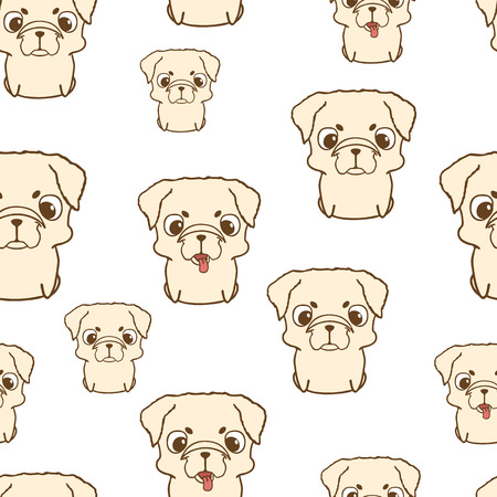 pug puppy: Seamless pattern with pug puppies. Cute little dogs in cartoon style. Colored brown pug puppy. Seamless texture with pug pupies. Seamless wallpaper with pug puppies