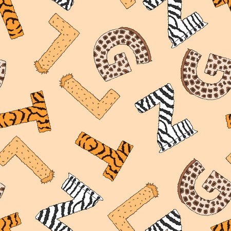 furry: Seamless background with furry letters with animal pattern. illustration on yellow background. Wallpaper for kids. Design for school and preschool