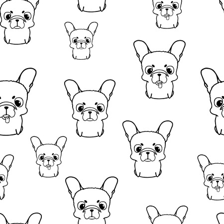 puppy isolated: Seamless pattern with french bulldog puppies. Black and white bulldog. Wallpaper with sweet small cartoon dog with funny muzzle. Purebred puppy isolated on white Illustration