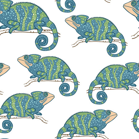 chamelion: Seamless wallpaper with chameleon isolated on white. Green and blue masquerading lizard. Seamless pattern with han drawn chameleon Illustration