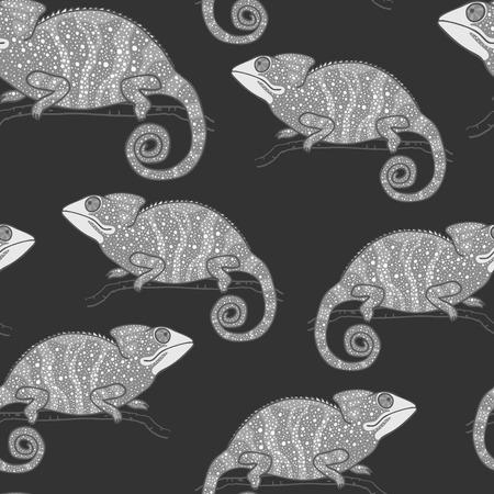 cameleon: Seamless wallpaper with chameleon on dark background. Monochrome lizard. Seamless pattern with  chameleon