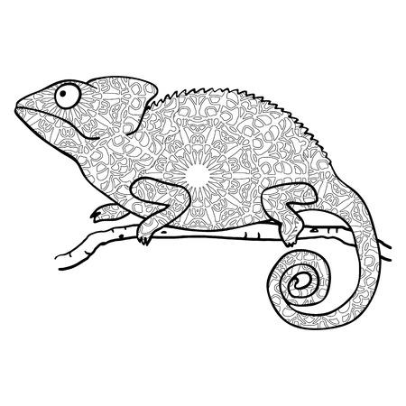 cameleon: style chameleon. Stylized animal isolated on white. Coloring page for adults. Abstract black and white pattern in tribal style Illustration