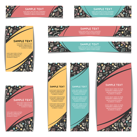 moss: Set of web banners with floral pattern. Vector illustration isolated on white. Wildflowers, moss and berries on dark background. Web banners with freehand pattern