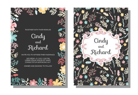 Einladung zur Hochzeit, speichern die Datumskarten. Vektor-Illustration, Wildblumen, Beeren und Moos auf dunklem Hintergrund. Einladung mit Blumenmuster und freihändig klassischen Rahmen