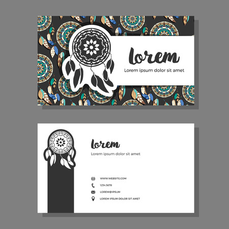 multycolored: Business cards with dreamcatcher pattern. Vector illustration. Colorful dreamcatchers on dark background. Business cards with freehand dreamcatcher logo Illustration