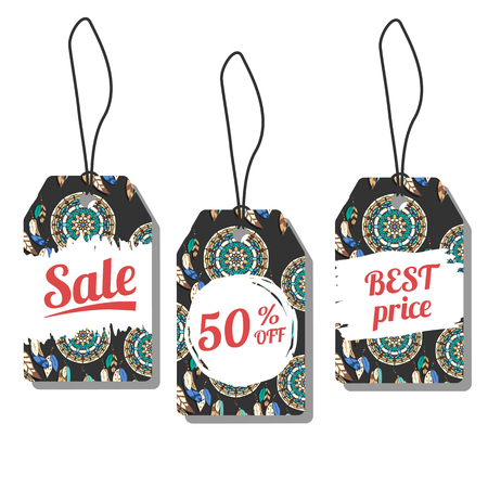 sale tags: Sale tags. Vector illustration with freehand ink textures. Colorful dreamcatchers on dark background. Prise labels with freehand pattern Illustration