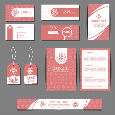corporate identity vector templates set with freehand floral logo business cards sale tags - Business Cards For Sale