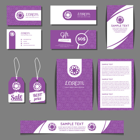 grunge floral: Corporate identity vector templates set with freehand grunge floral logo. Business cards, sale tags, banners, gift coupons