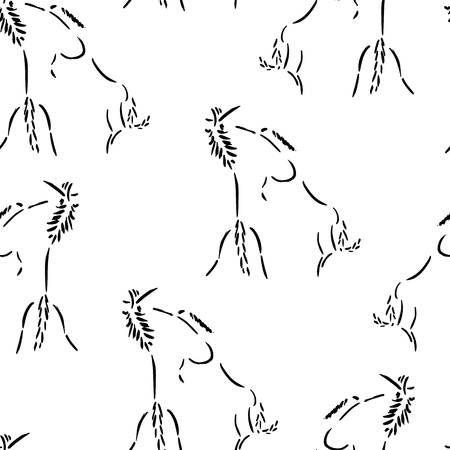 rearing: Seamless pattern with fighting horses. Artistic grunge ink painting. Vector illustration isolated on white. Rearing wild mustangs