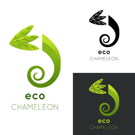 lizard in field: Eco chameleon logo. Vector illustration isolated on white. Green stylized chameleon with leaves. Concept for eco company, organic shop, vegetarian restaurant