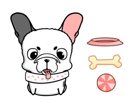 bulldog puppy: French bulldog puppy. Vector illustration of cute little dog with big head. Puppy with bowl, bone and ball. Isolated on white