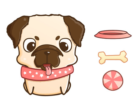 pug puppy: Cute cartoon pug puppy. Vector illustration isolated on white. Pug puppy with bowl, bone and ball. Sweet little dog with funny muzzle