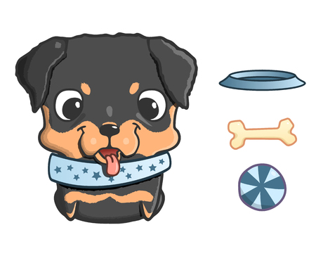 child and dog: Cute cartoon rottweiler puppy. Vector illustration isolated on white. Rottweiler puppy with bowl, bone and ball. Sweet little dog with big head
