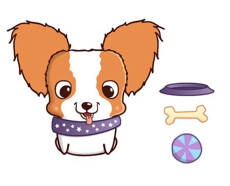 Leuke cartoon papillon puppy. Vector illustratie op wit wordt geïsoleerd. Papillon puppy met kom, been en de bal. Lieve kleine hond met grote kop