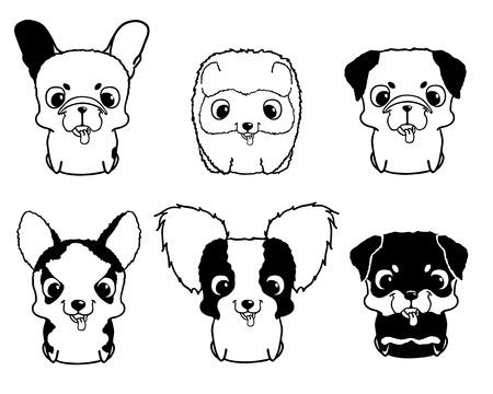 siberian husky: Set of cartoon puppies. Black and white vector illustration isolated on white. Rottweiler, siberian husky, pug, pomeranian, french bulldog, papillon