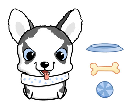 husky puppy: Cute cartoon siberian husky puppy. Vector illustration isolated on white. Siberian husky puppy with bowl, bone and ball. Sweet little dog with big head