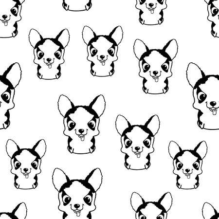 siberian husky: Seamless pattern with siberian husky puppies. Black and white vector illustration. Wallpaper with sweet little cartoon dog