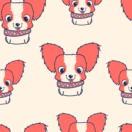 funny dogs: Seamless pattern with papillon puppies. Colorful vector illustration. Wallpaper with cartoon dog. Cute puppies on light background Illustration