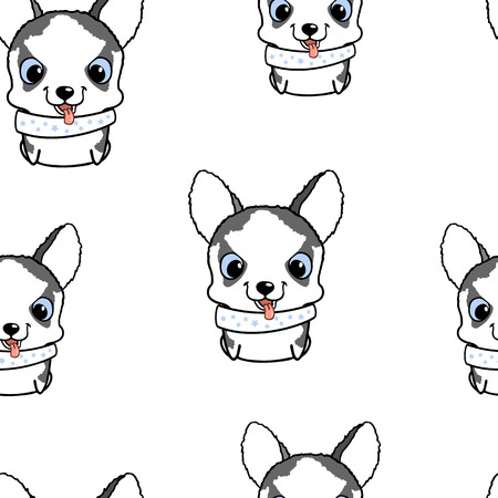 siberian husky: Seamless pattern with siberian husky puppies. Vector illustration. Wallpaper with cartoon dog. Cute puppies on white background