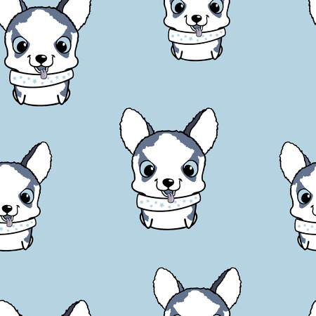 siberian husky: Seamless pattern with siberian husky puppies. Vector illustration. Wallpaper with cartoon dog. Cute puppies on blue background
