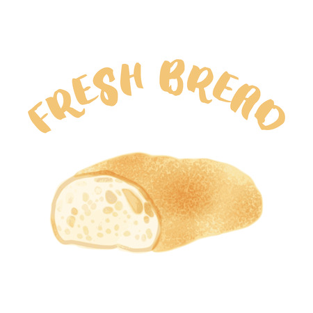crusty: Fresh bread in watercolor style. Vector illustration isolated on white. Hand drawn watercolor painted loaf with text