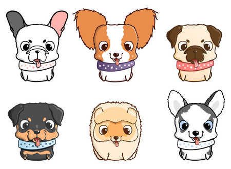 siberian husky: Set of cartoon puppies. Vector illustration isolated on white. Rottweiler, siberian husky, pug, pomeranian, french bulldog, papillon Illustration