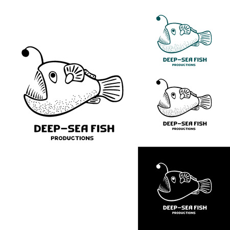 deep sea: Deep sea fish  . Vector illustration isolated on white.