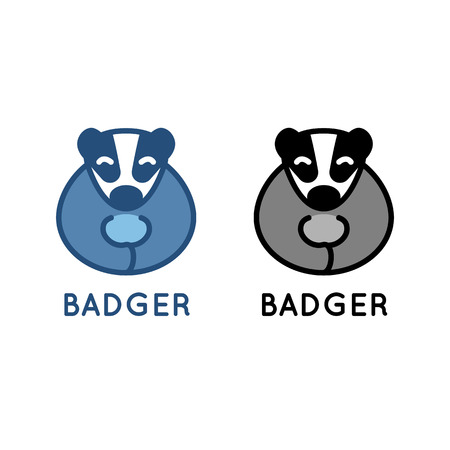 badger: Badger . illustration isolated on white. Cute little animal. Clean design for kindergarten, zoo, wildlife protection