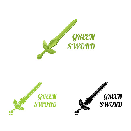 ifestyle: Green sword . illustration isolated on white. for natural protection company, eco products, organic products