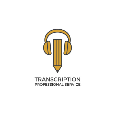 transcription: Transcription service . illustration isolated on white. Bulky headphones and pencil. Modern clean simple flat design