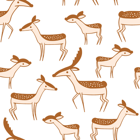 fawn: Seamless pattern with cute cartoon deer family. Wallpaper on white background. Little lovable fawn and his parents