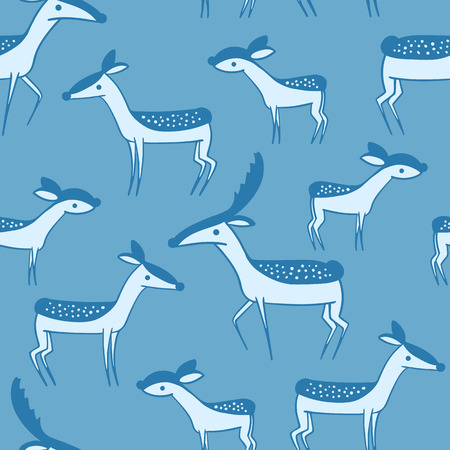 lovable: Seamless pattern with cute cartoon deer family. Wallpaper on blue background. Little lovable fawn and his parents