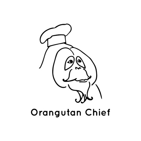 cook cap: Orangutan chief . Black illustration isolated on white. Funny monkey. Line design animal with cook cap Illustration