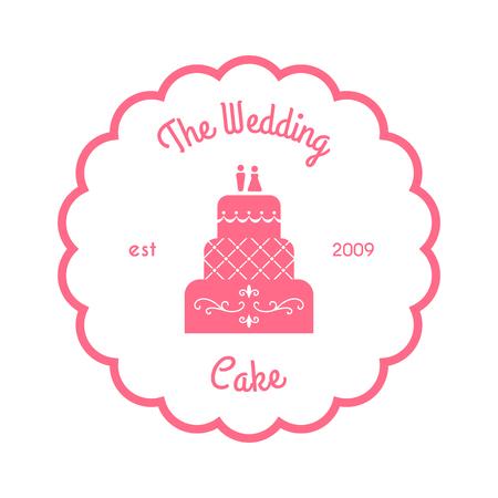 wedding cake isolated: The wedding cake logo. Vector illustration isolated on white. Clean pink logo for bakery. Classic wedding cake