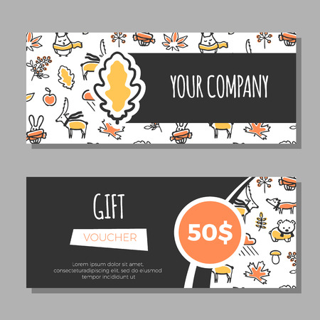 gift pattern: Gift vouchers with floral background. Vector animals and plants. Gift coupons with doodle pattern. Cute fox, deer