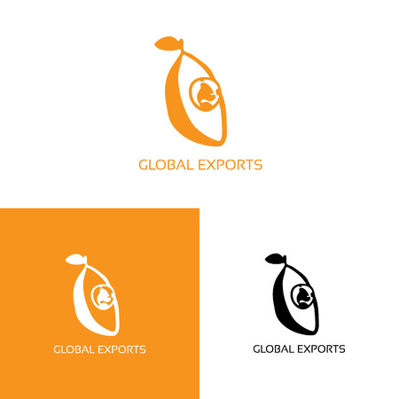 playful: Fresh fruit with globe logo. Vector illustration isolated on white. Playful freehand orange logo for international companies